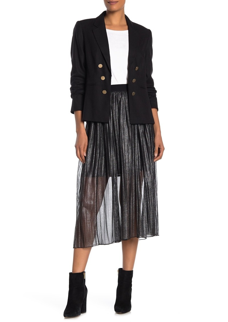Sanctuary Metallic Pleated Midi Skirt (Regular & Petite)