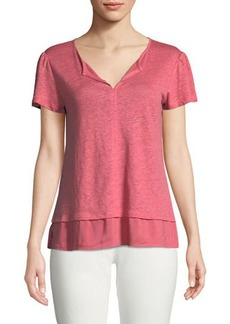 Sanctuary Uptown Short Puff-Sleeve Linen T-Shirt