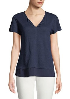 Sanctuary Uptown Short Puff-Sleeve Linen T-Shirt