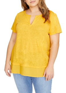 Sanctuary Uptown Tiered Hem Linen Tee (Plus Size)