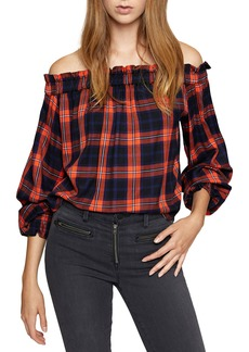 Sanctuary Venus Off-The-Shoulder Plaid Blouse