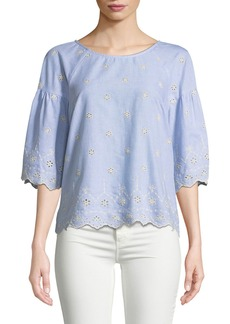 Sanctuary Viola Embroidered Eyelet Cotton Blouse