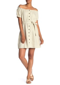 Sanctuary Washed Linen Off the Shoulder Peasant Dress (Regular & Petite)