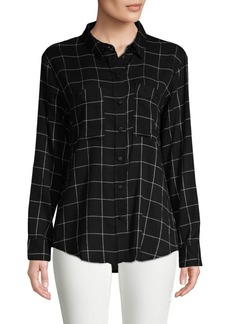 Sanctuary Windowpane Boyfriend Button-Down Shirt
