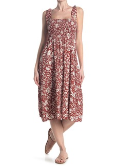 Sanctuary Wine Tasting Floral Smocked Maxi Dress