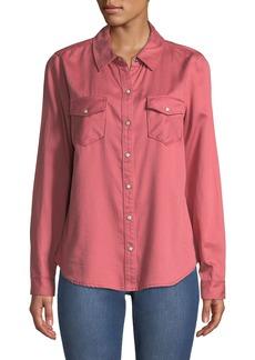 Sanctuary Work Snap-Button Cotton Shirt
