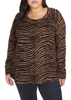 Sanctuary Zebra Print Camp Step Pullover (Plus Size)