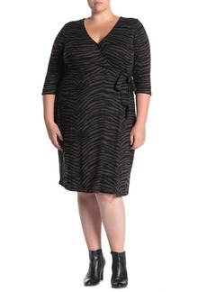 Sanctuary Zebra Stripe Wrap Brushed Knit Dress (Plus Size)