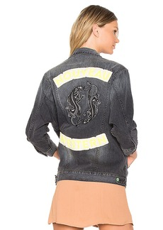 Sandrine Rose Embroidered Denim Jacket in Gray. - size L (also in S,XS)