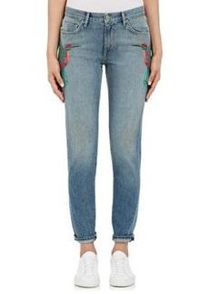 Sandrine Rose Women's Embroidered Skinny Boyfriend Jeans