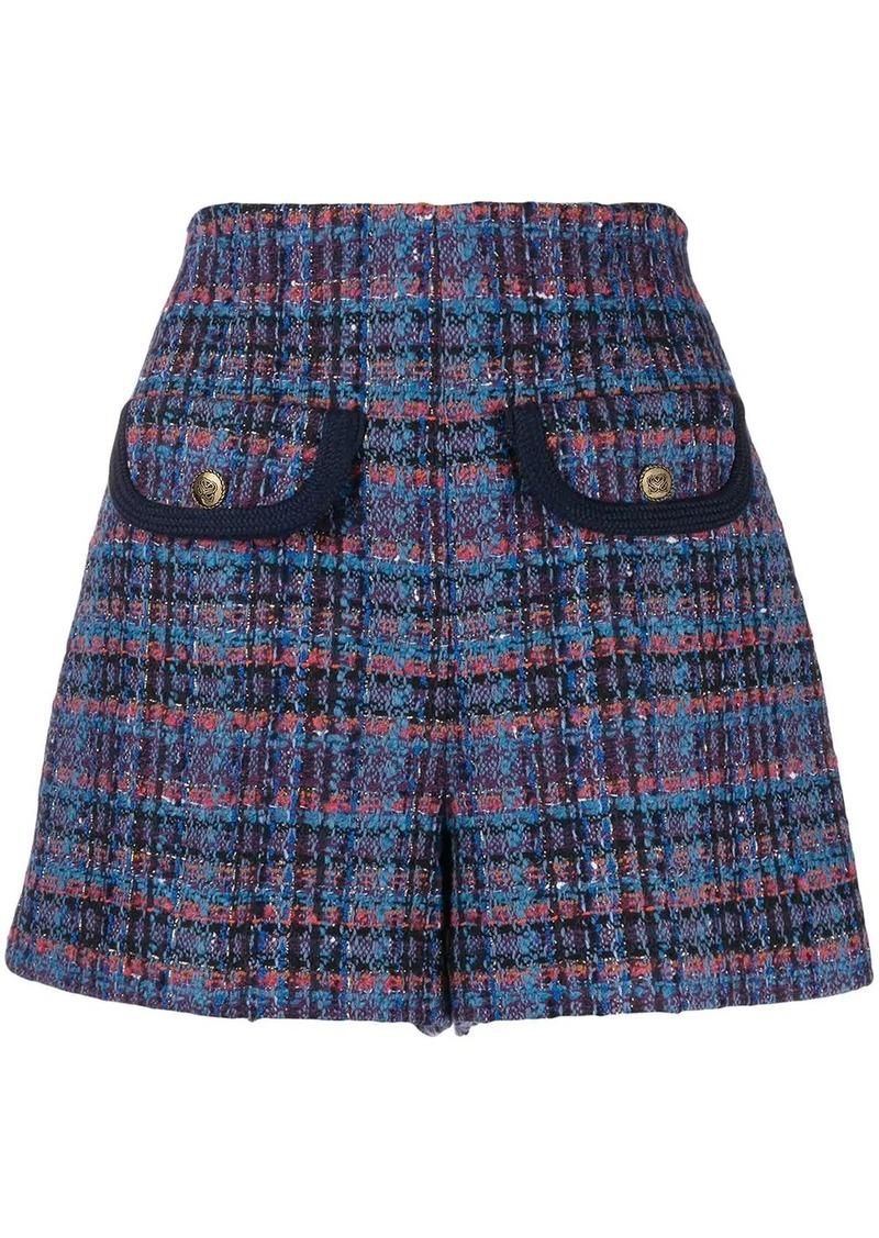 plaid tweed shorts