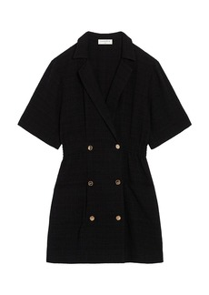 Sandro Alize Double-Breasted Tweed Button Shirtdress