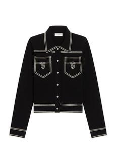 Sandro Aurelien Topstitched Shirt-Style Cardigan