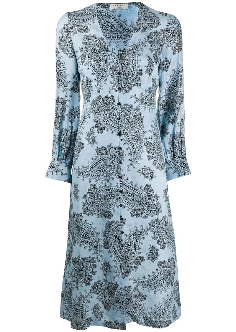 Sandro Beane paisley-print dress