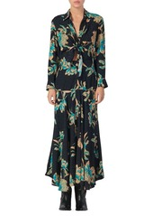Sandro Blaire Floral Knotted Midi Dress