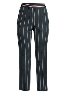 Sandro Blanche Striped Cropped Linen-Blend Trousers