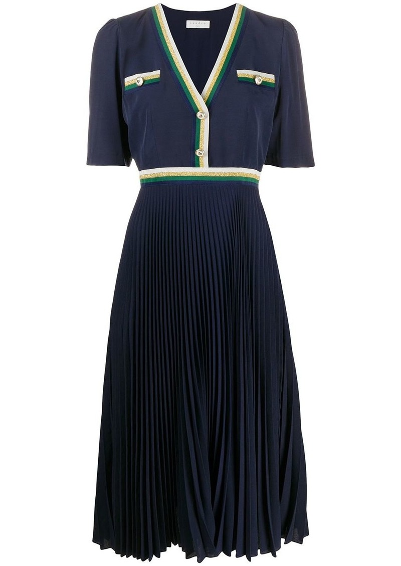 Sandro buttoned V-neck pleated dress