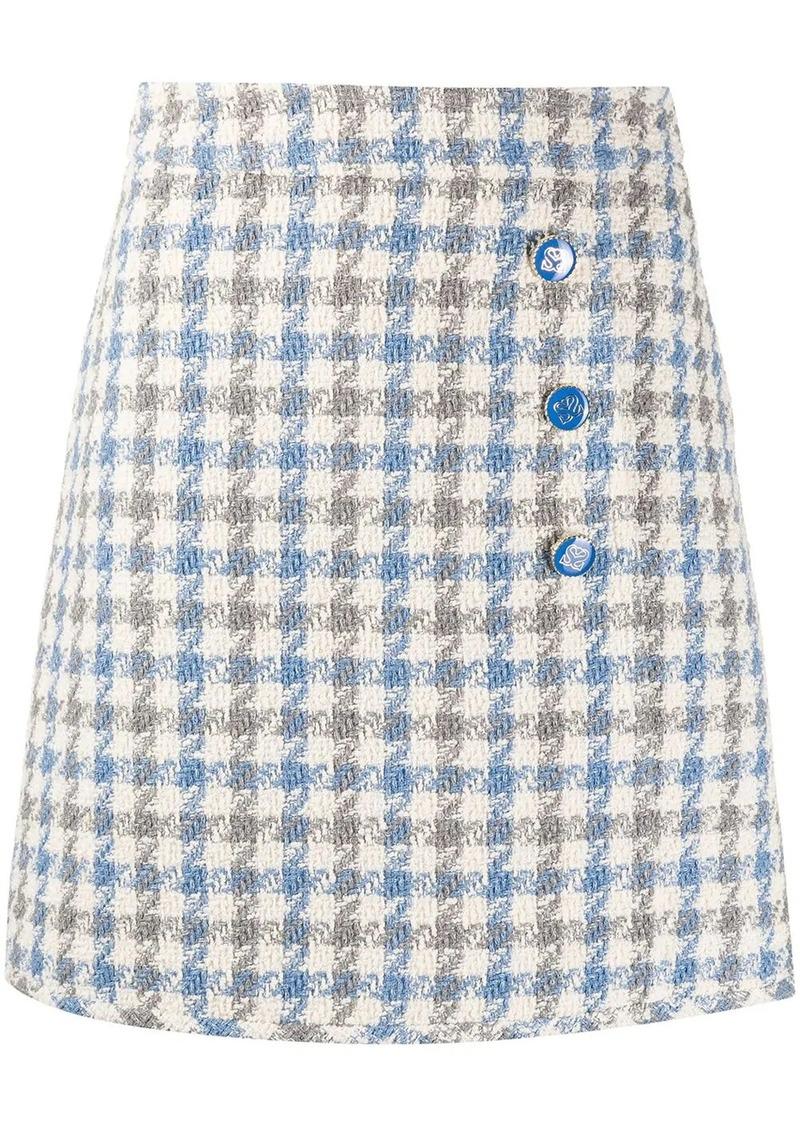 Sandro Calia houndstooth tweed skirt