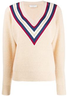 Sandro chain embroidery chevron sweater