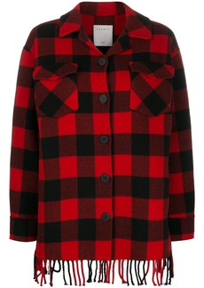 Sandro check fringed coat