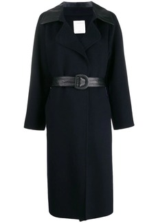 Sandro contrast panel belted trenchcoat