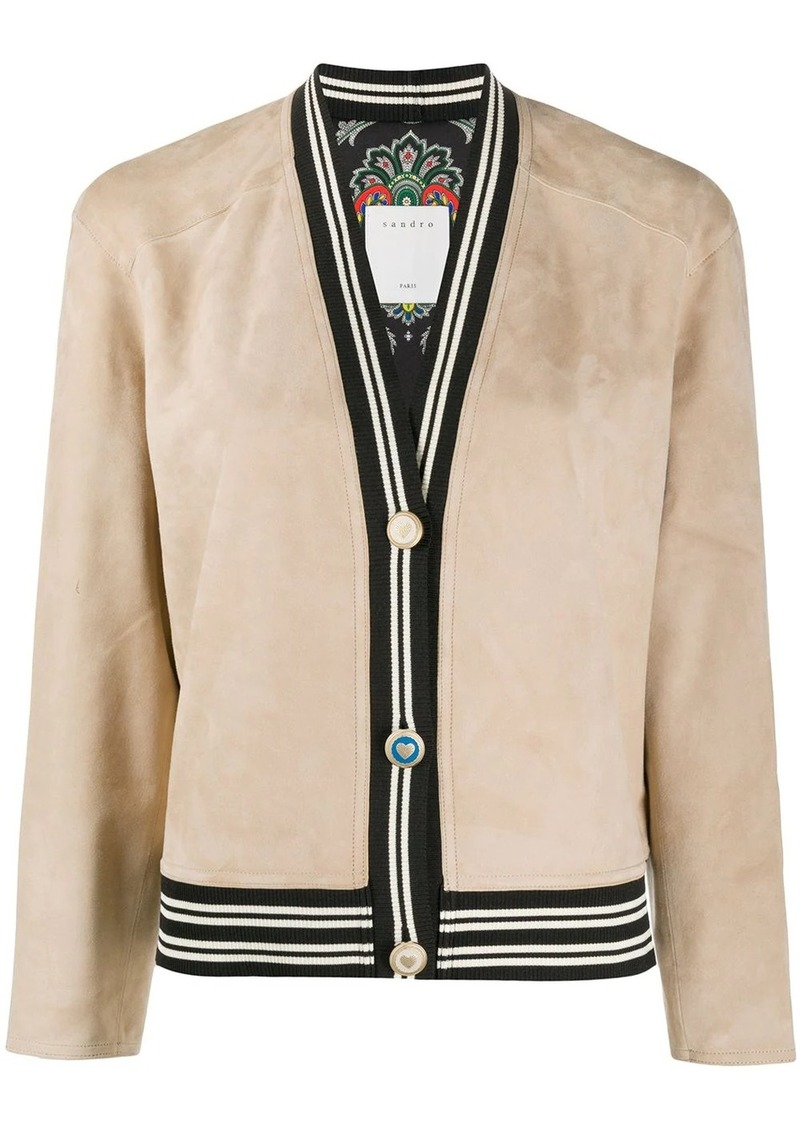 Sandro cropped suede jacket
