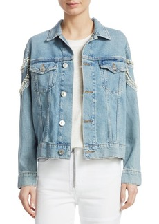 Sandro Cuba To Paris Eriko Beaded Denim Jacket