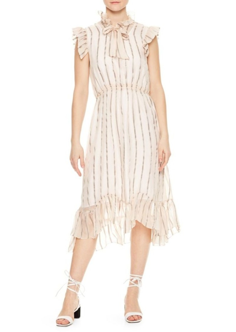 Sandro Cuba to Paris Maki Sheer Overlay Silk Dress
