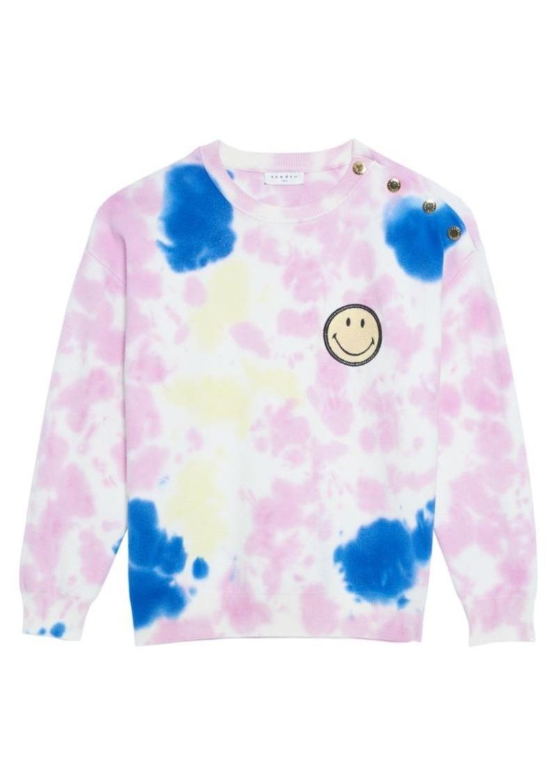 Sandro Dayey Tie-Dye Smiley Sweatshirt
