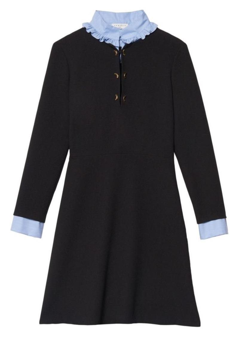Sandro Delna Poplin Sheath Sweater Dress