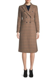 Sandro Double-Breasted Plaid Coat