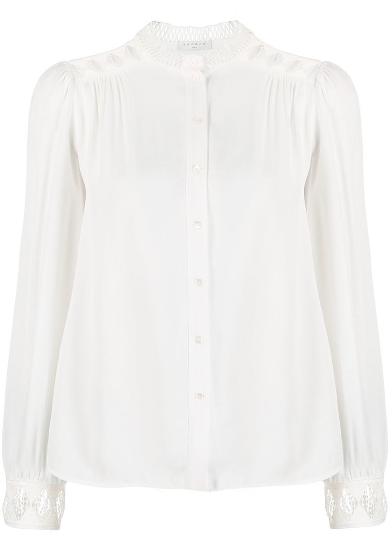 Sandro embroidered collarless blouse