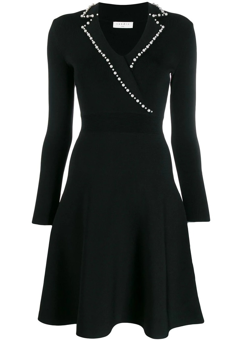 Sandro faux-pearl trim dress