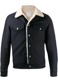 Sandro faux shearling-lined trucker jacket