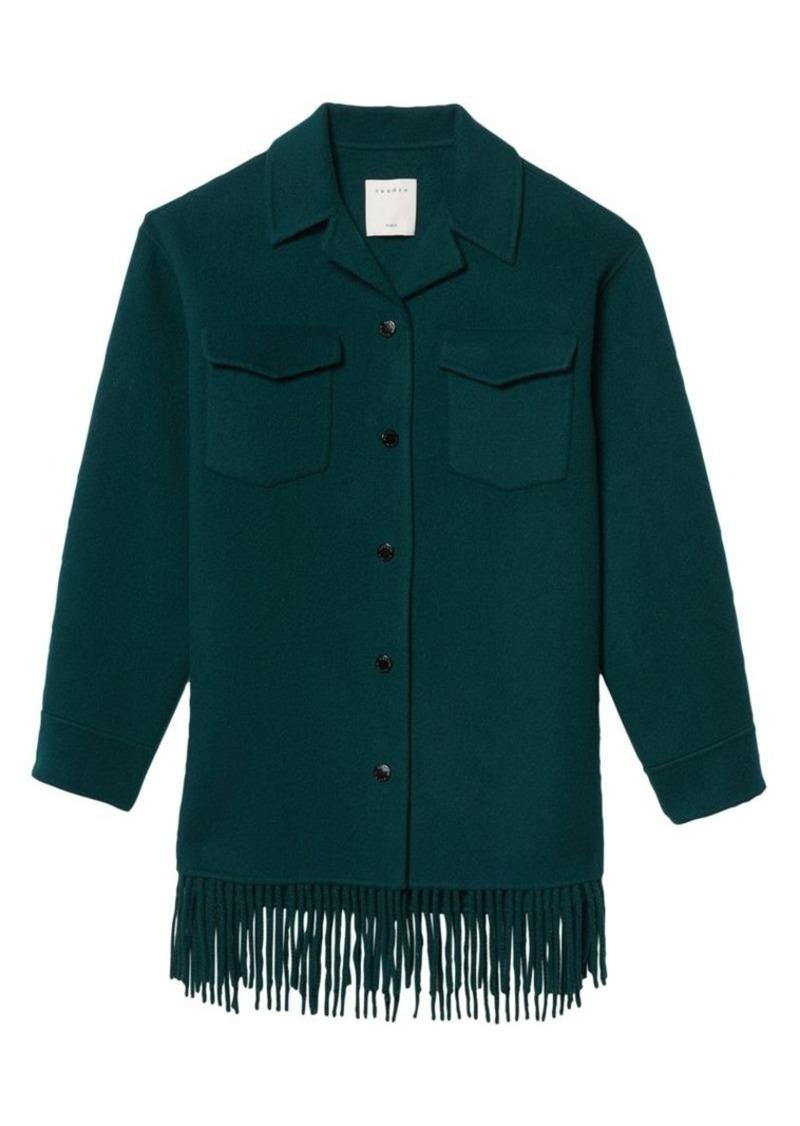 Sandro Fringe Wool-Blend Coat