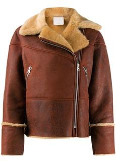 Sandro fur-trimmed biker jacket