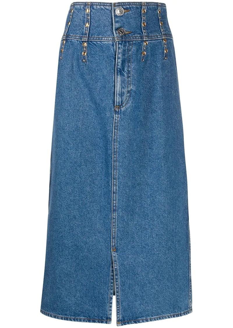 Sandro high rise stud-embellished denim skirt