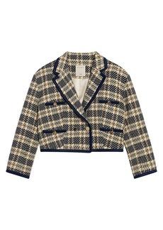 Sandro Isabela Crop Plaid Tailored Jacket