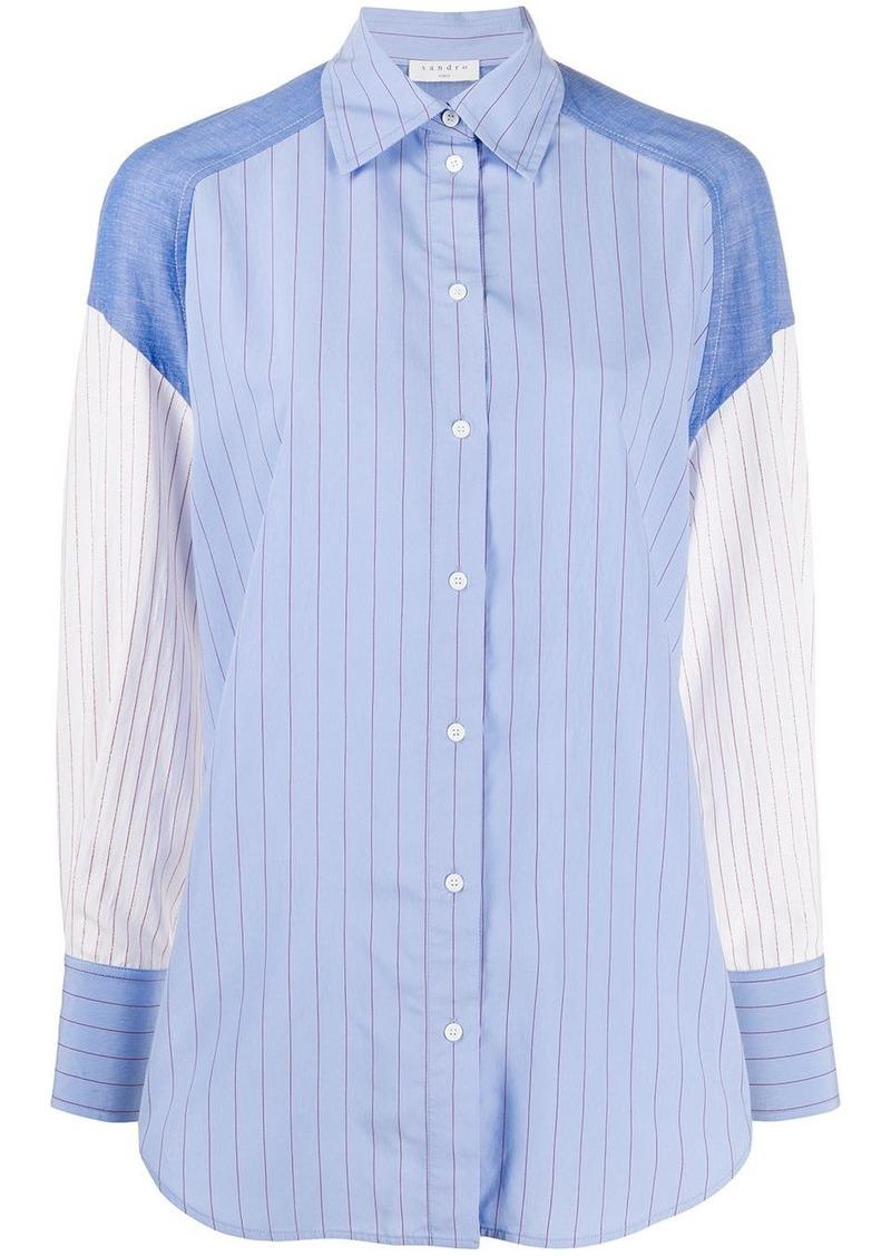 Sandro Kim contrast sleeve shirt