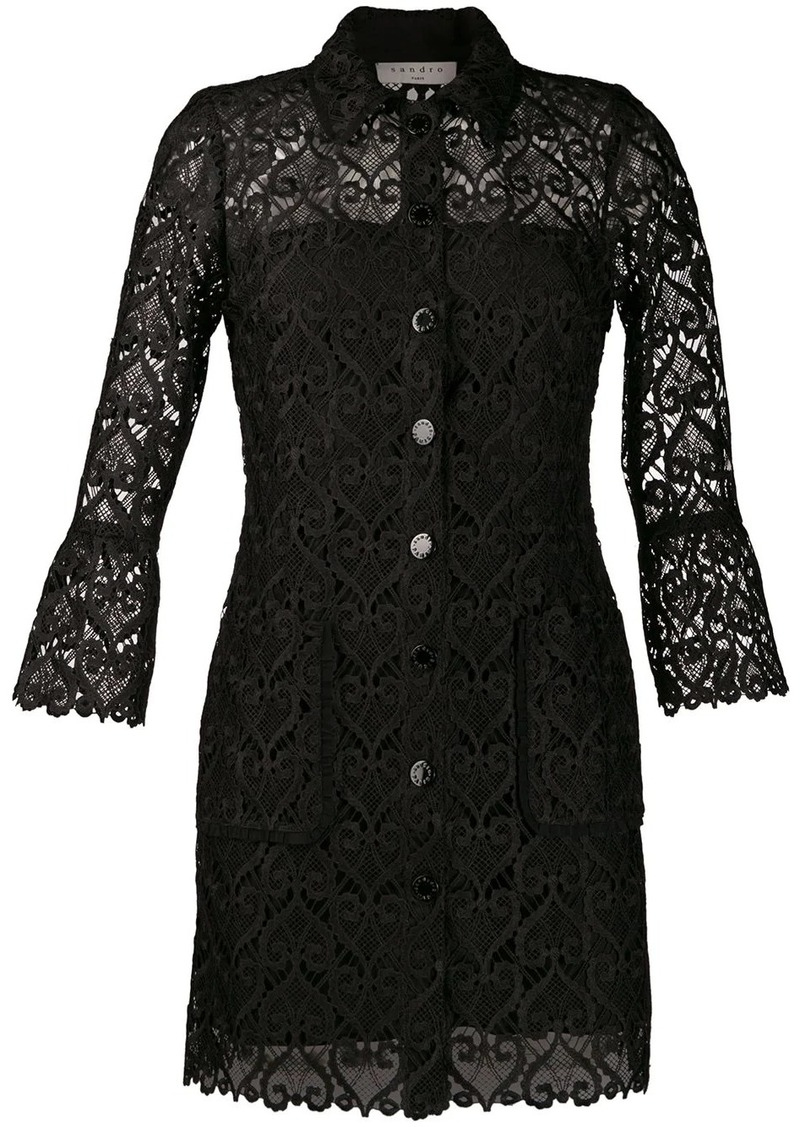 Sandro lace A-line shirt dress