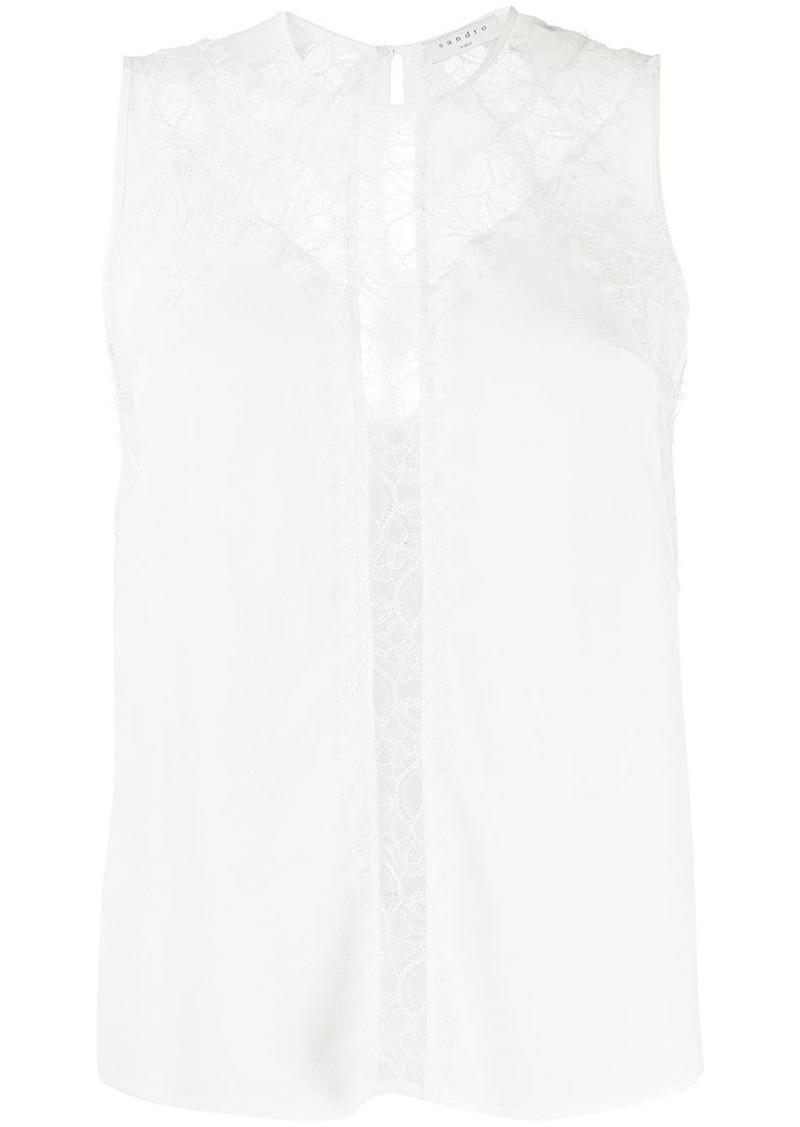 Sandro lace insert blouse
