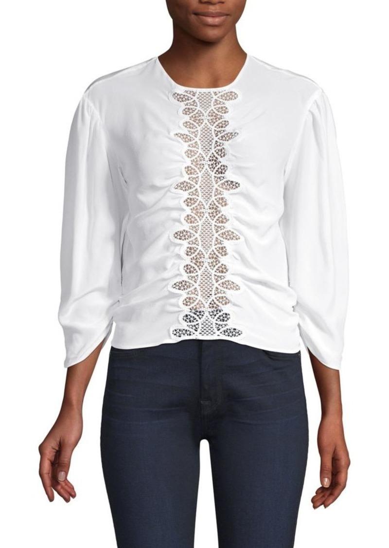 Sandro Lace Puff Sleeve Silk Blouse