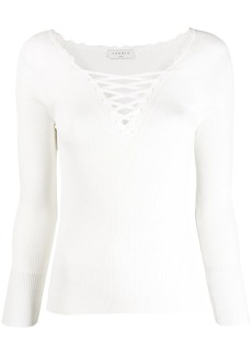 Sandro lace-up neck jumper