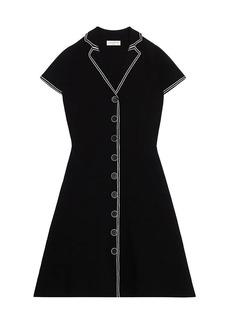 Sandro Laureene Contrast Topstitching Knit A-Line Dress