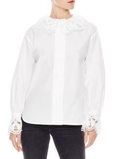 Sandro Lineaire Lace Trim Shirt