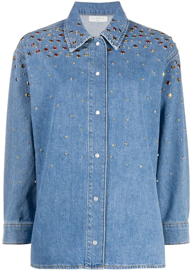 Sandro long sleeve stud-embellished denim shirt