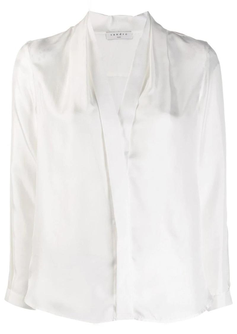 Sandro long-sleeved V-neck blouse