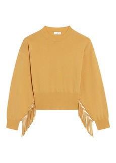 Sandro Paprika Fringe Wool-Cashmere Sweater