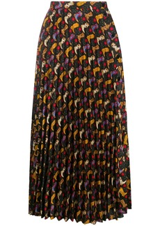 Sandro patterned pleated midi skirt