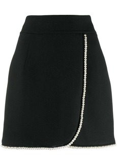 Sandro pearl-embellished wrap skirt